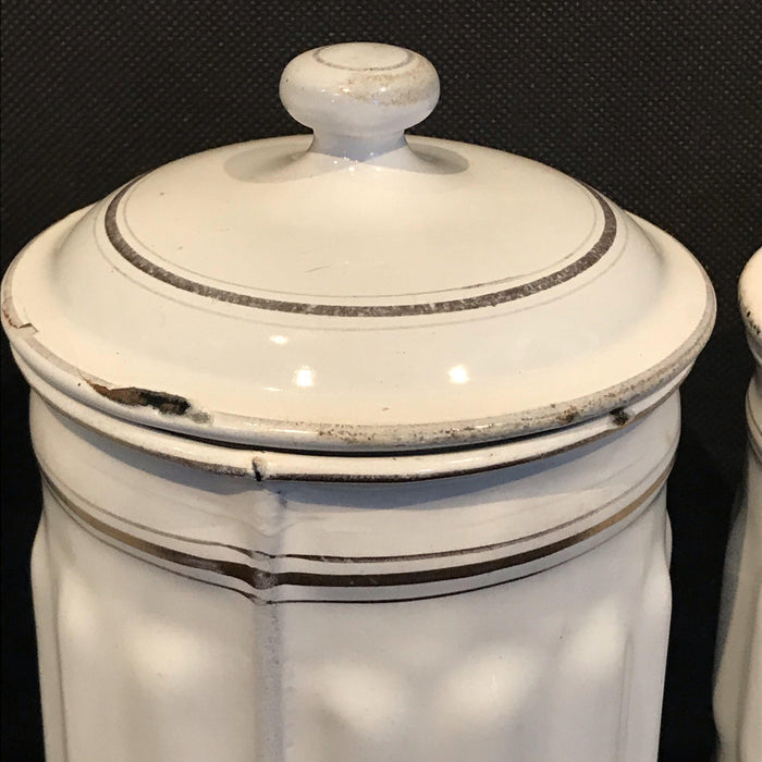 beautiful French Four Piece Enamel Canister Set White/Gold