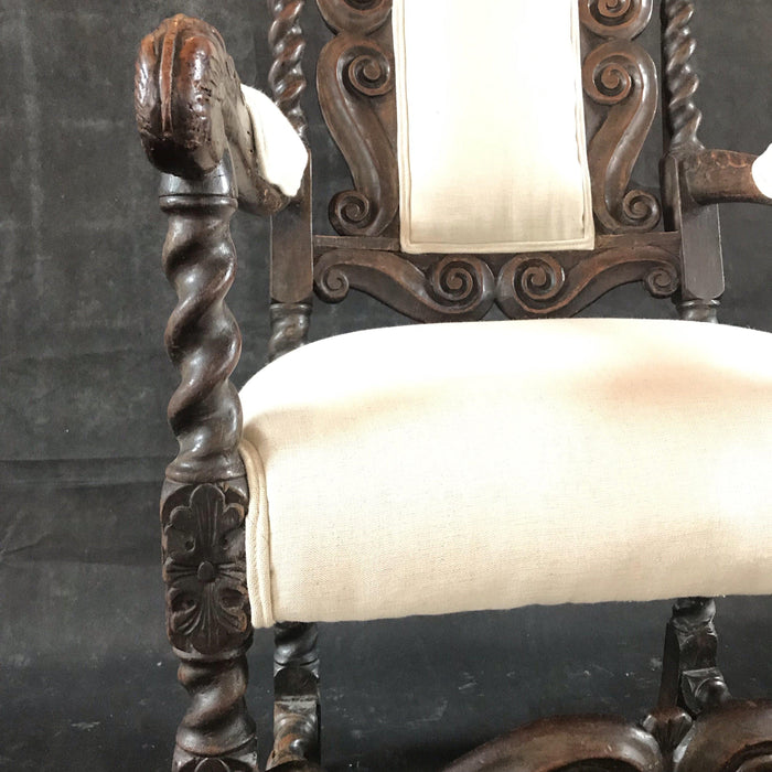 British 18th Century Early Oak Beautifully Carved Chair (Reupholstered)