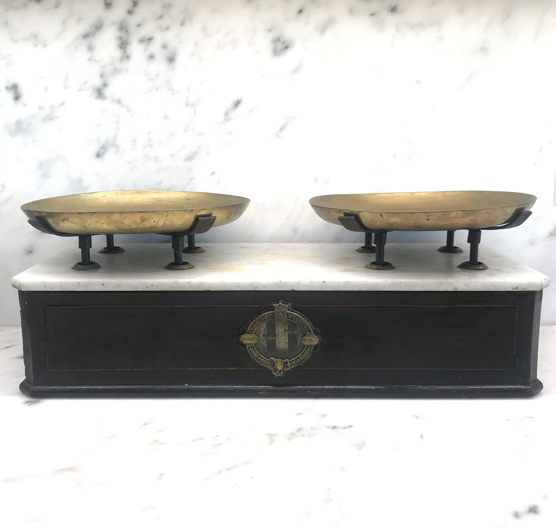Antique French Napoleon III Marble Top Bakery Scale 1870