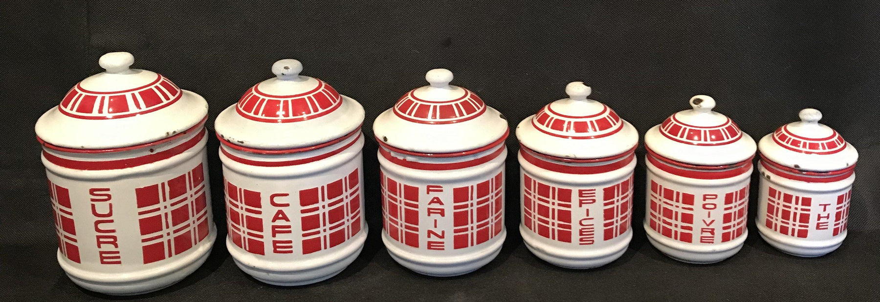 For Sale: French Six Piece Red and White Enamel Canister Set