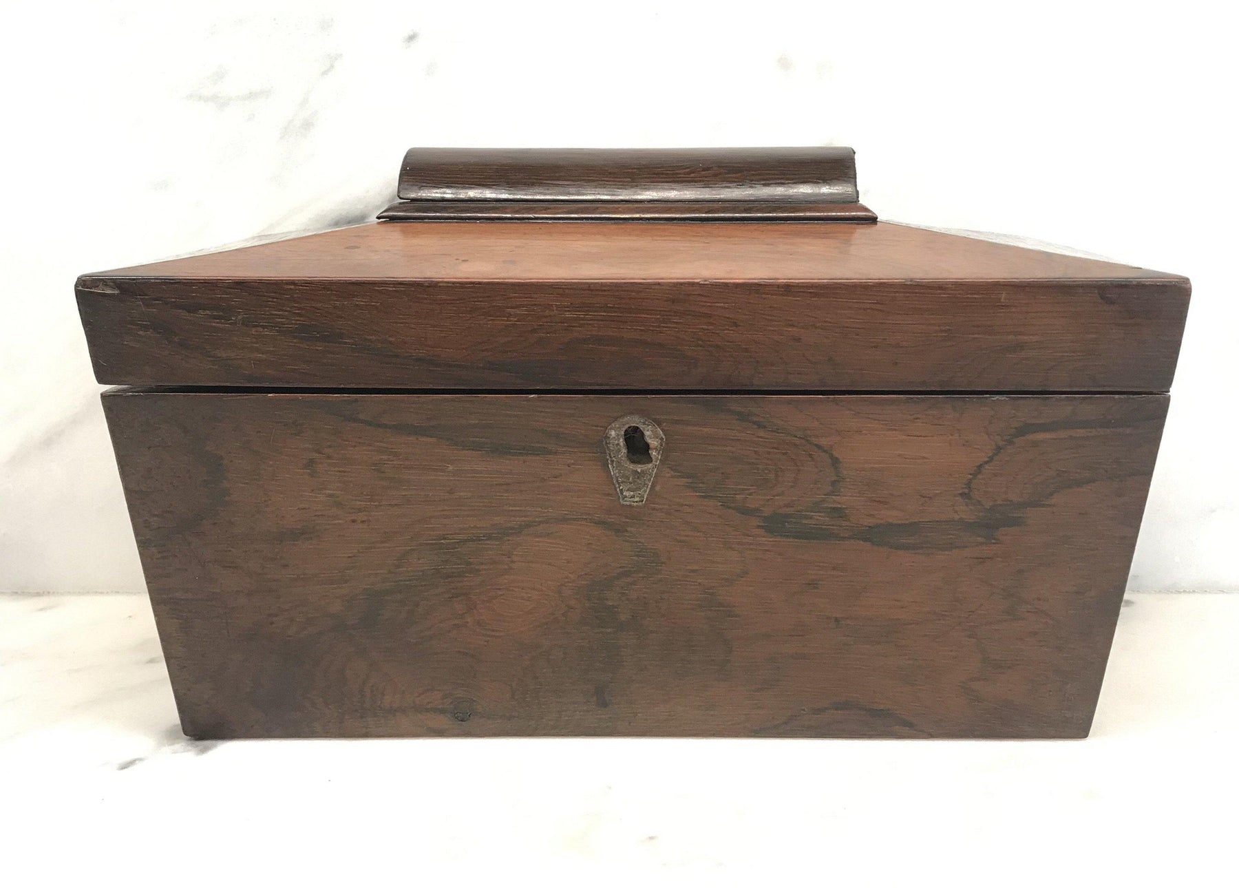 For Sale: British Rosewood Georgian Tea Box with Original Key
