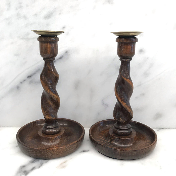 English Oak Barley Twist Candlesticks For Sale