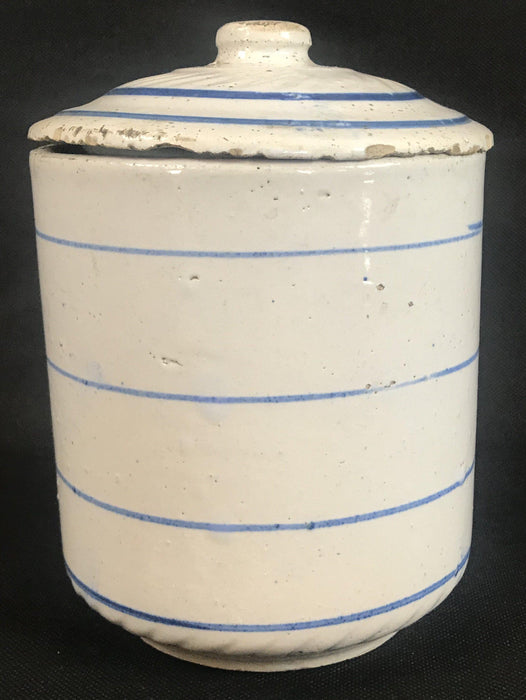 Vintage Blue and White Ceramic Coffee Canister to sell