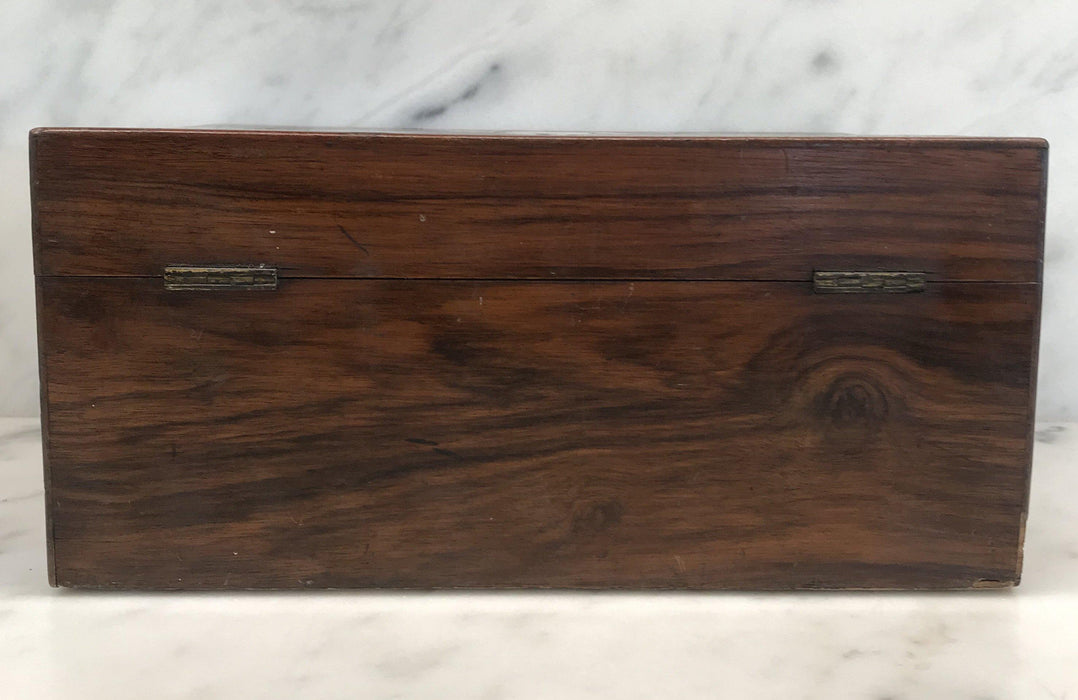 Antique British Walnut Writing Slope/Desk with Inlaid Mother Of Pearl