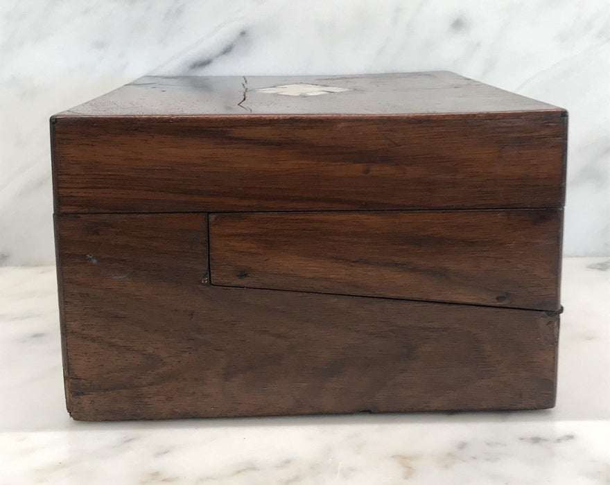 Antique British Walnut Writing Slope/Desk with Inlaid Mother Of Pearl For Sale