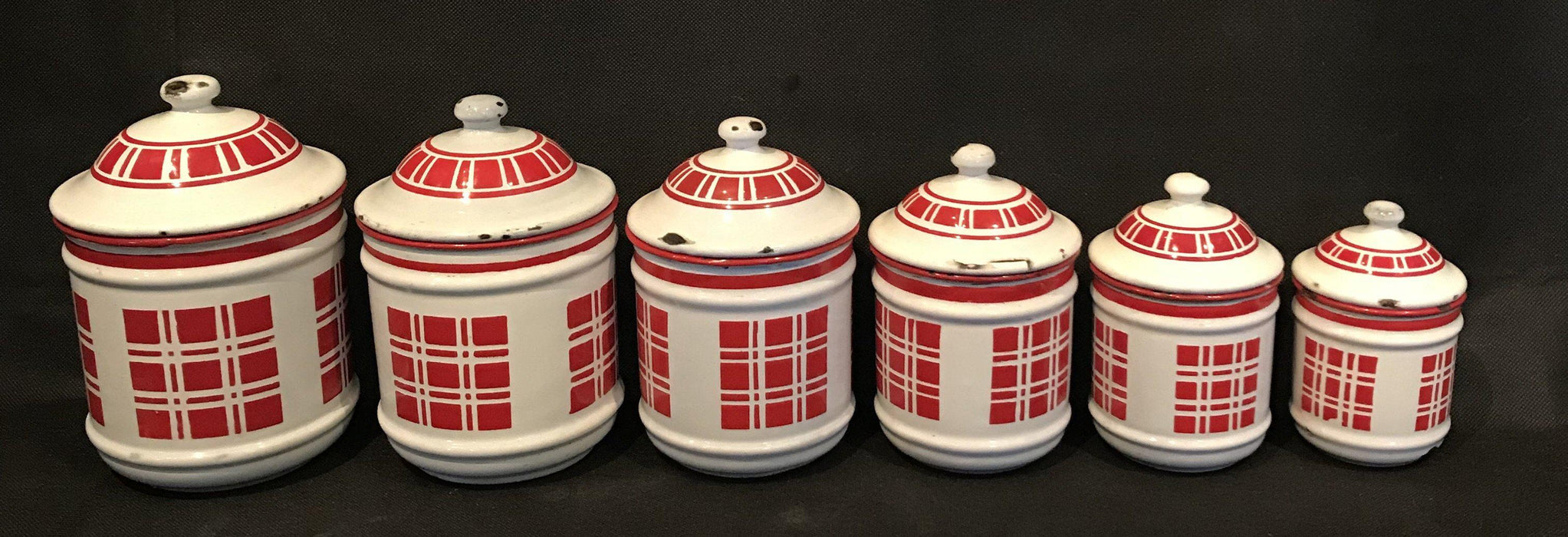 French Six Piece Red and White Enamel Canister Set For Sale