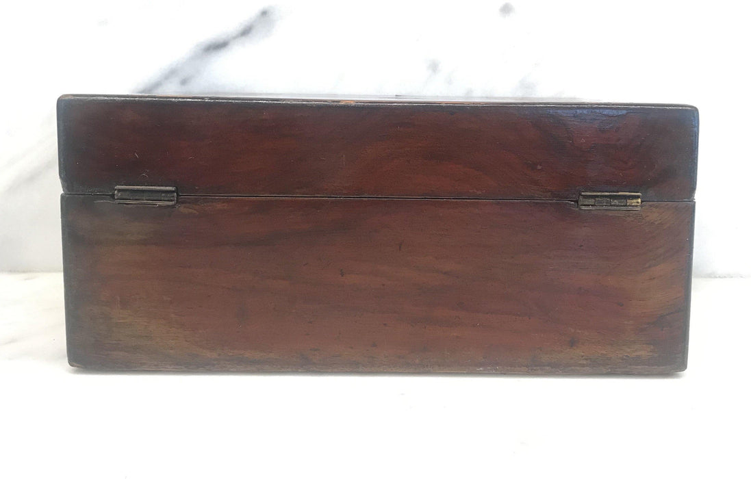 Rare British Inlaid Wood Box with Mother of Pearl Accents For Sale