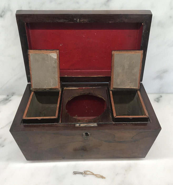 British Rosewood Georgian Tea Box with Original Key For Sale