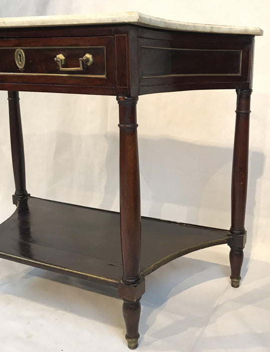 Beautiful French Louis XVI Style Early Marble Top Console Side Table