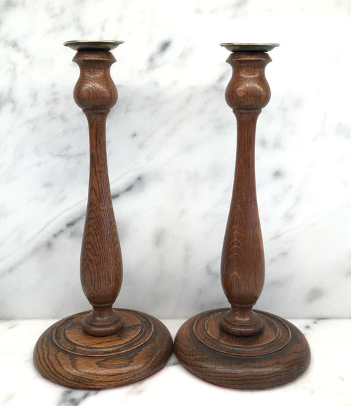 Pair of British Oak Candlesticks For Sale