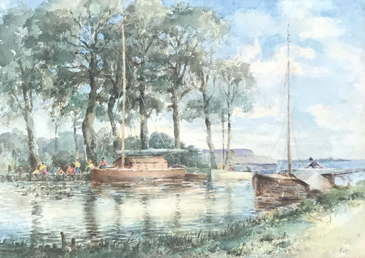 Antique British River Boat Watercolor