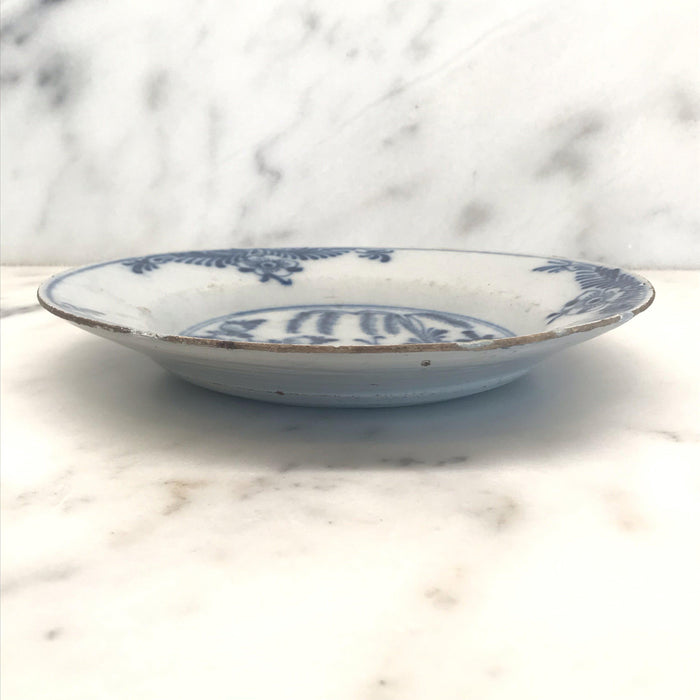 Plate Blue and White Floral with Pattern 18th Century