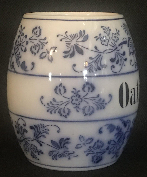 Vintage Blue and White German Oatmeal Canister