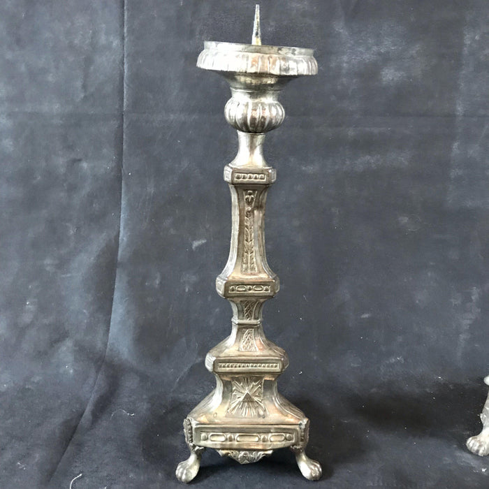 Silver Candle Holders/Candelabra Pair and Crucifixion Cross from the Altar of a Church in France