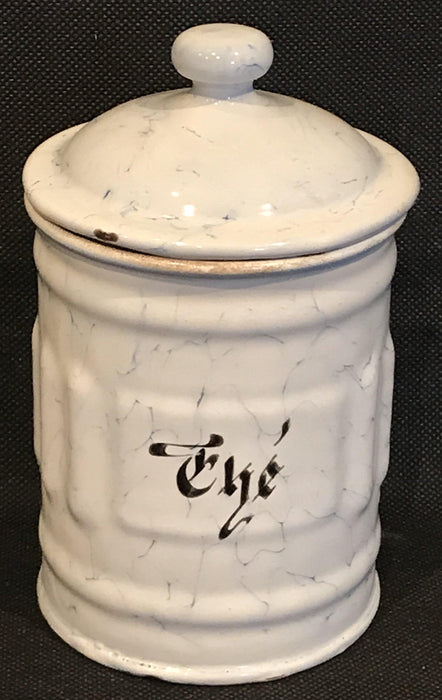 antique French Six Piece Enamel Canister Set White with Black Hand Lettering