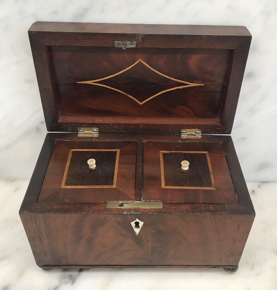 Early British Georgian Marquetry Inlaid Tea Box with Original Pulls and Lining