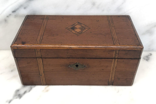 For Sale: British Inlaid Tea Box with Original Lining and Key