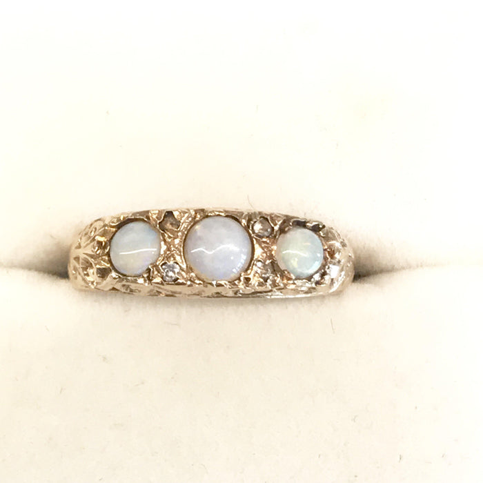 British Opal Ring with Diamonds