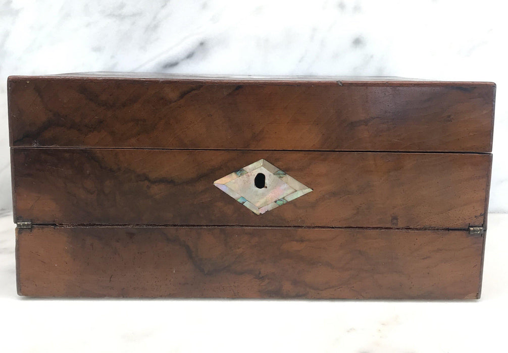 British Walnut Writing Slope/Desk with Inlaid Mother Of Pearl For Sale
