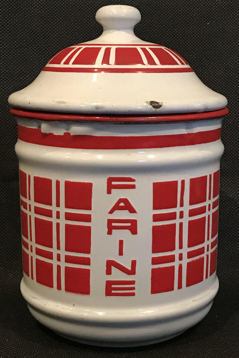 Antique French Six Piece Red and White Enamel Canister Set