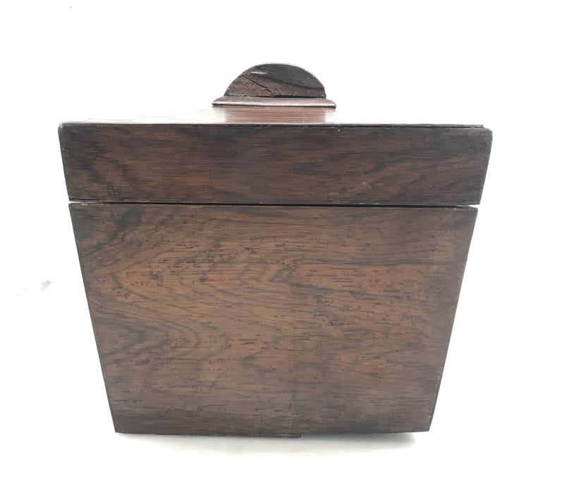 Antique British Rosewood Georgian Tea Box with Original Key