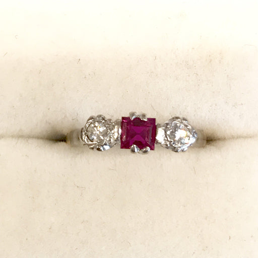 18K Yellow Gold and Platinum Ruby and Diamond Ring from England