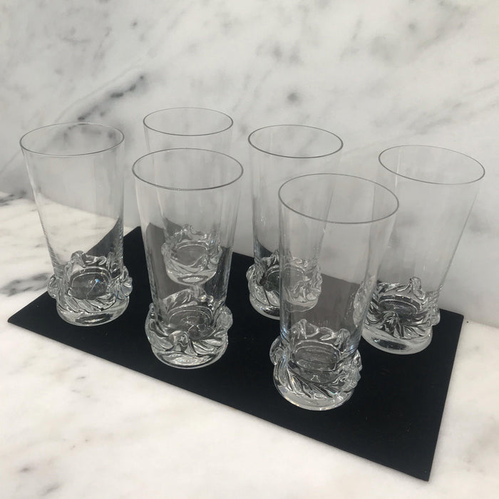 Signed French Mid-Century Art Deco Daum Glasses Molded Crystal Set of Six