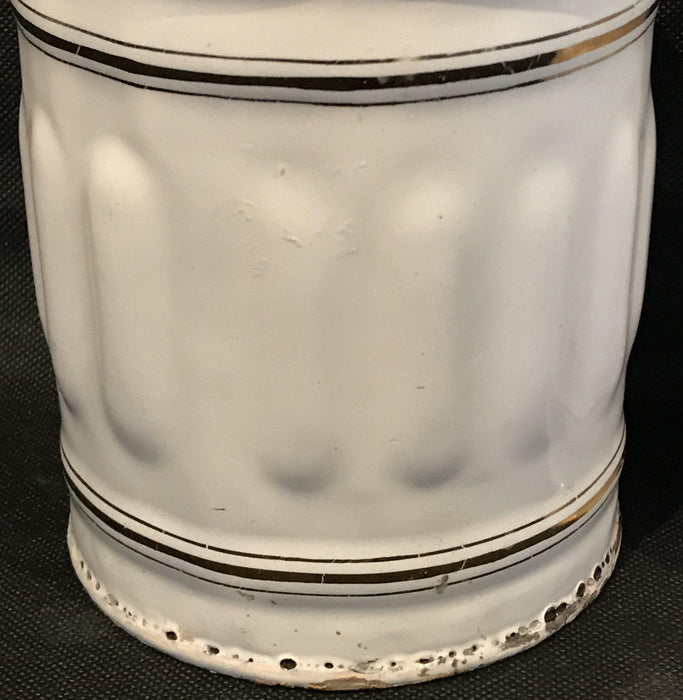 20th century French Four Piece Enamel Canister Set White/Gold