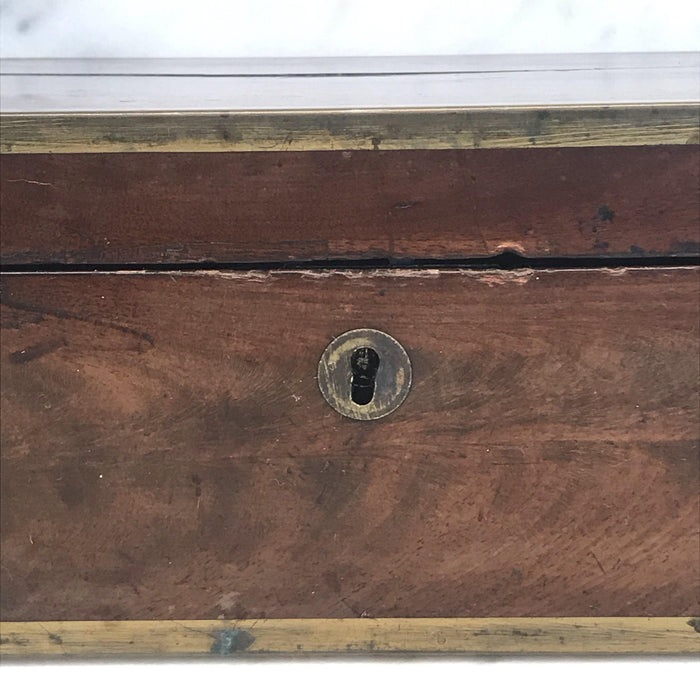 Antique Very Early Georgian British Box with Brass Pulls and Strapping
