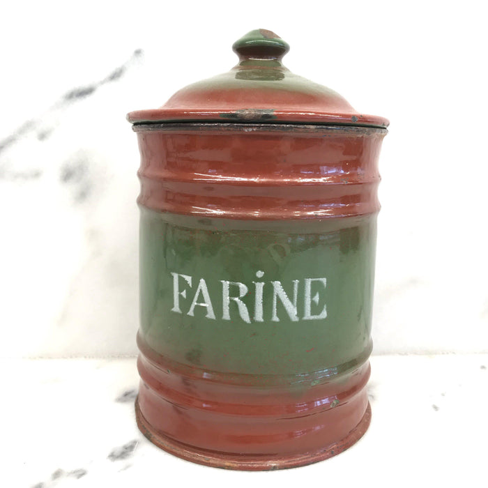Six Piece French Enamel Kitchen Canister Set Red/Green To Sell