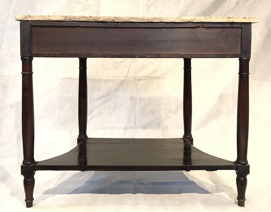 French Louis XVI Style Early Marble Top Console Side Table