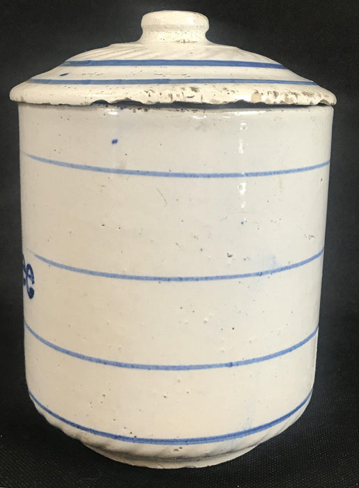 Vintage Blue and White Ceramic Coffee Canister for sale