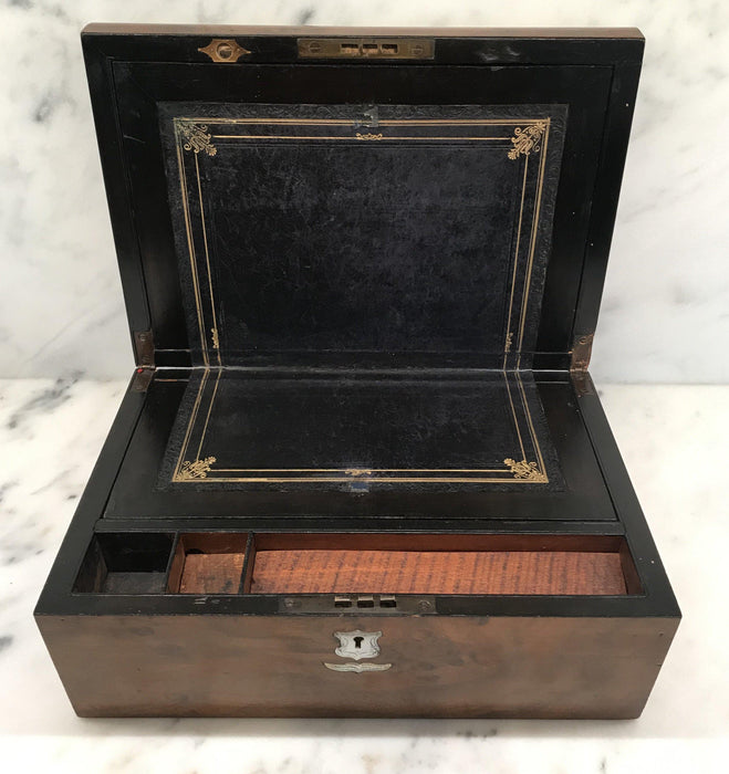 British Walnut Writing Box/Slope/Desk with Original Embossed Desk Leather, Mother of Pearl Escutcheon and Crest For Sale
