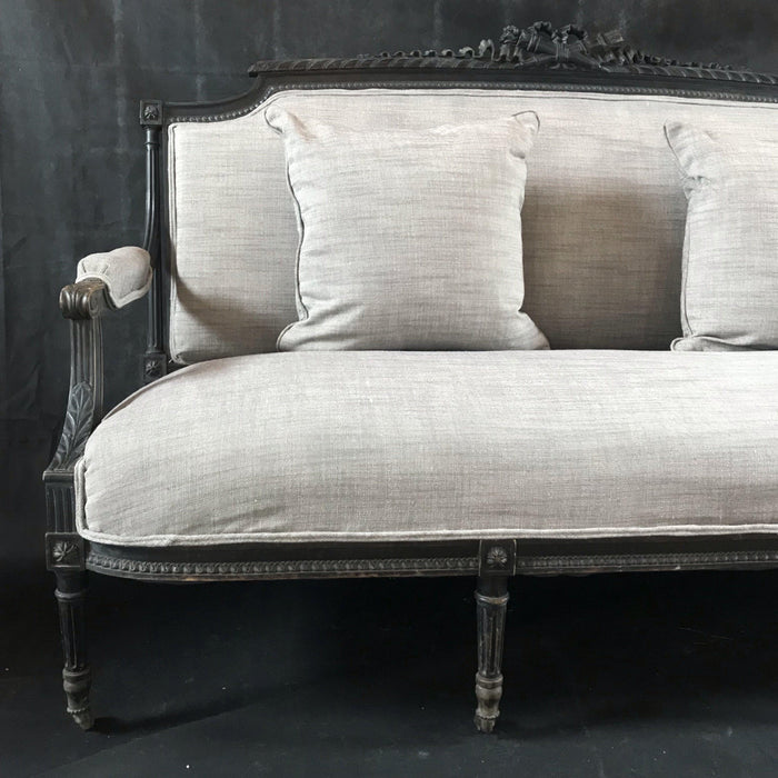 Louis XVI Early Beautifully Carved French Sofa (Reupholstered in New Cotton/Linen French Fabric)