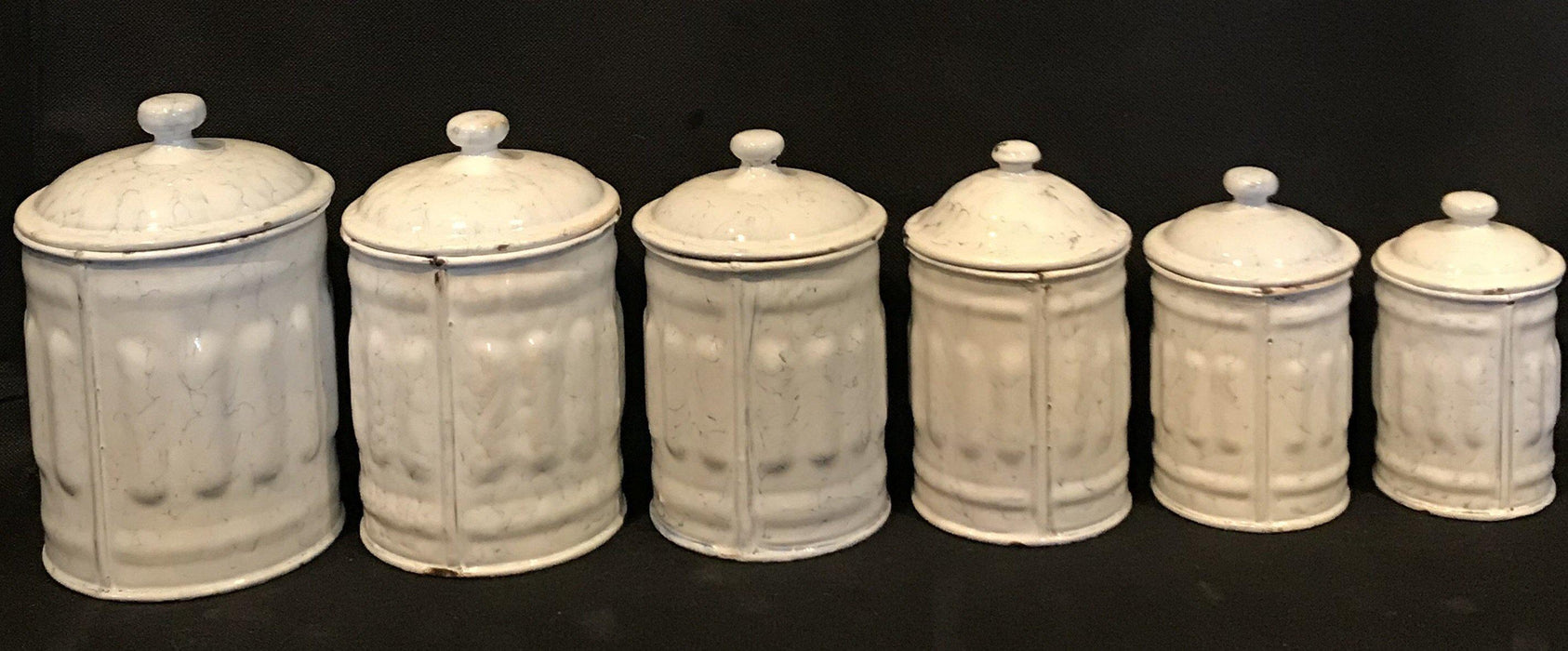 French Six Piece Enamel Canister Set White with Black Hand Lettering to buy