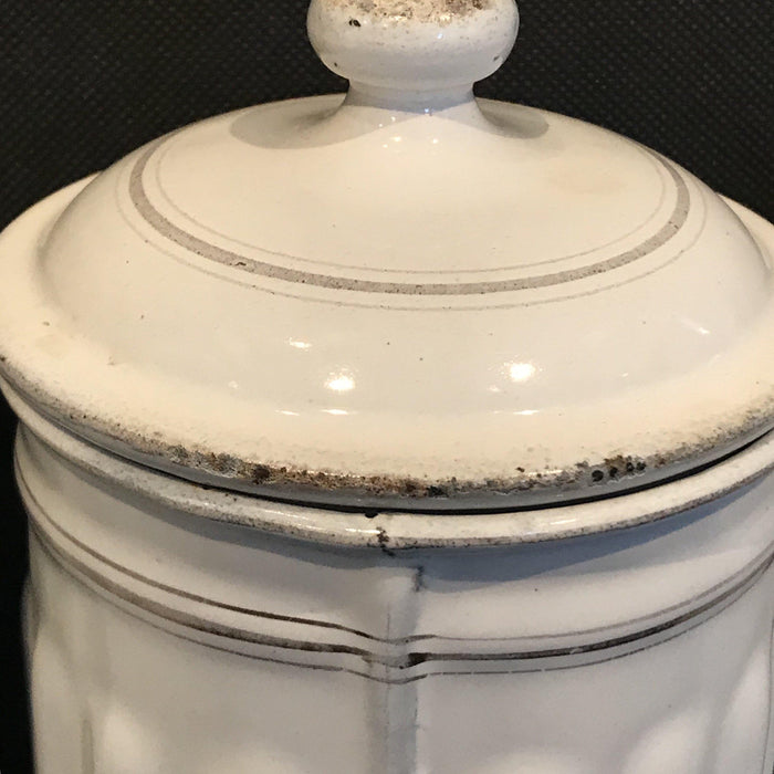 fabulous French Four Piece Enamel Canister Set White/Gold