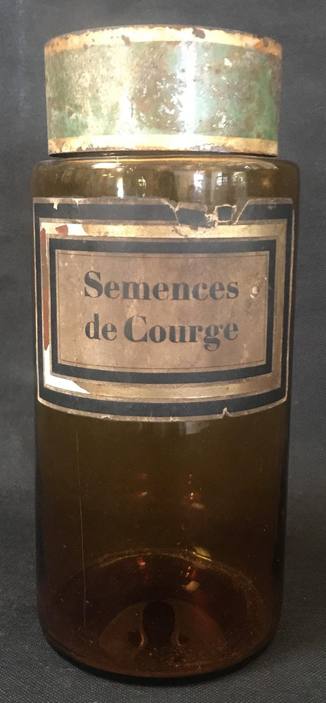 "For Sale: Large French Apothecary Jar ""Semences de Courge"""