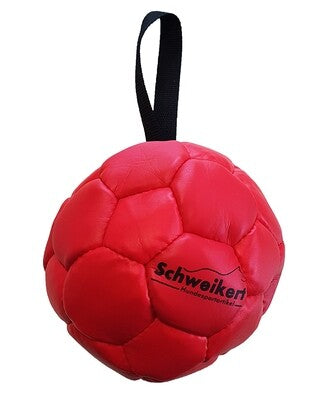 Leather Ball with grip, 18 cm, red