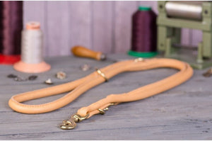 "LEATHER LEASH ""ROUNDED"" GOLD COLORS"
