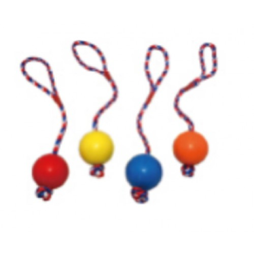 SOLID RUBBER BALL WITH MULTICOLOR ROPE