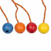 DUVO+RUBBER BALL WITH ROPE DOG TOY