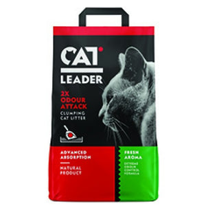 GEOHELLAS CAT LEADER 2 x ODOUR ATTACK FRESH CLUMPING CAT LITTER-FRESH AROMA-10 KG