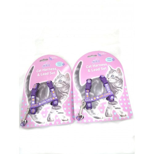 GOLDEN PANDA HARNESS+LEAD H:10mm x 25-36cm + L:10mm x 120cm (PURPLE)
