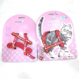 GOLDEN PANDA HARNESS+LEAD H:10mm x 25-36cm + L:10mm x 120cm(RED)