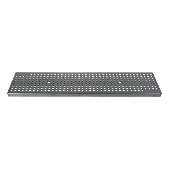 NDS DS-228 Dura Slope 2' Perforated Galvanized Metal Grate, ADA Heelproof, Pedestrian Traffic Rated