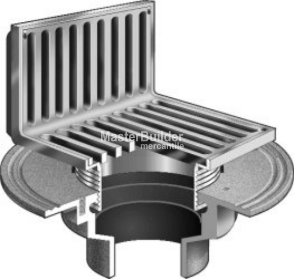 Mifab F1100-AS Floor Drain w/ Angle Strainer for Non-Membrane Floors