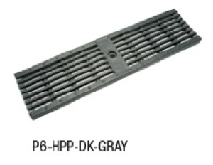 "Zurn P6-HPP-DK-GRAY 6"" Wide Heel-Proof Linear Slotted HDPE Grate Class A Dark Gray"