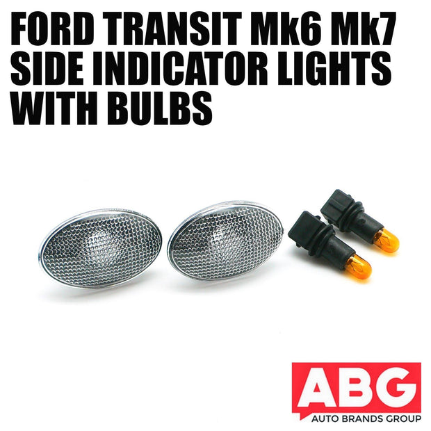 Ford Transit 1985-2013 Pair Clear Side Indicator Wing Light Marker with Bulb