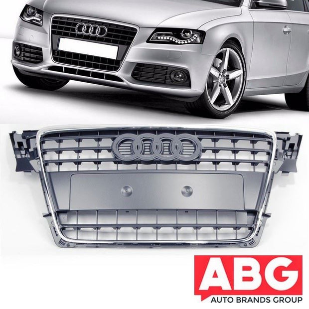 For Audi A4 2008  to 2012 Grey Bumper Front Grille Chrome Trim Grid 8K0853651