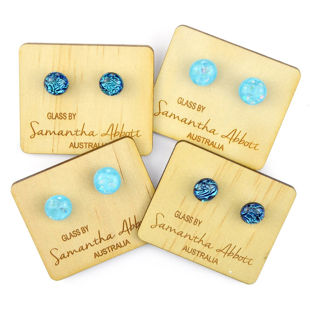Samantha Abbott Glass Earrings - Pale Blue